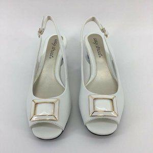 Easy Street Womens Slingback Kitten Heels White